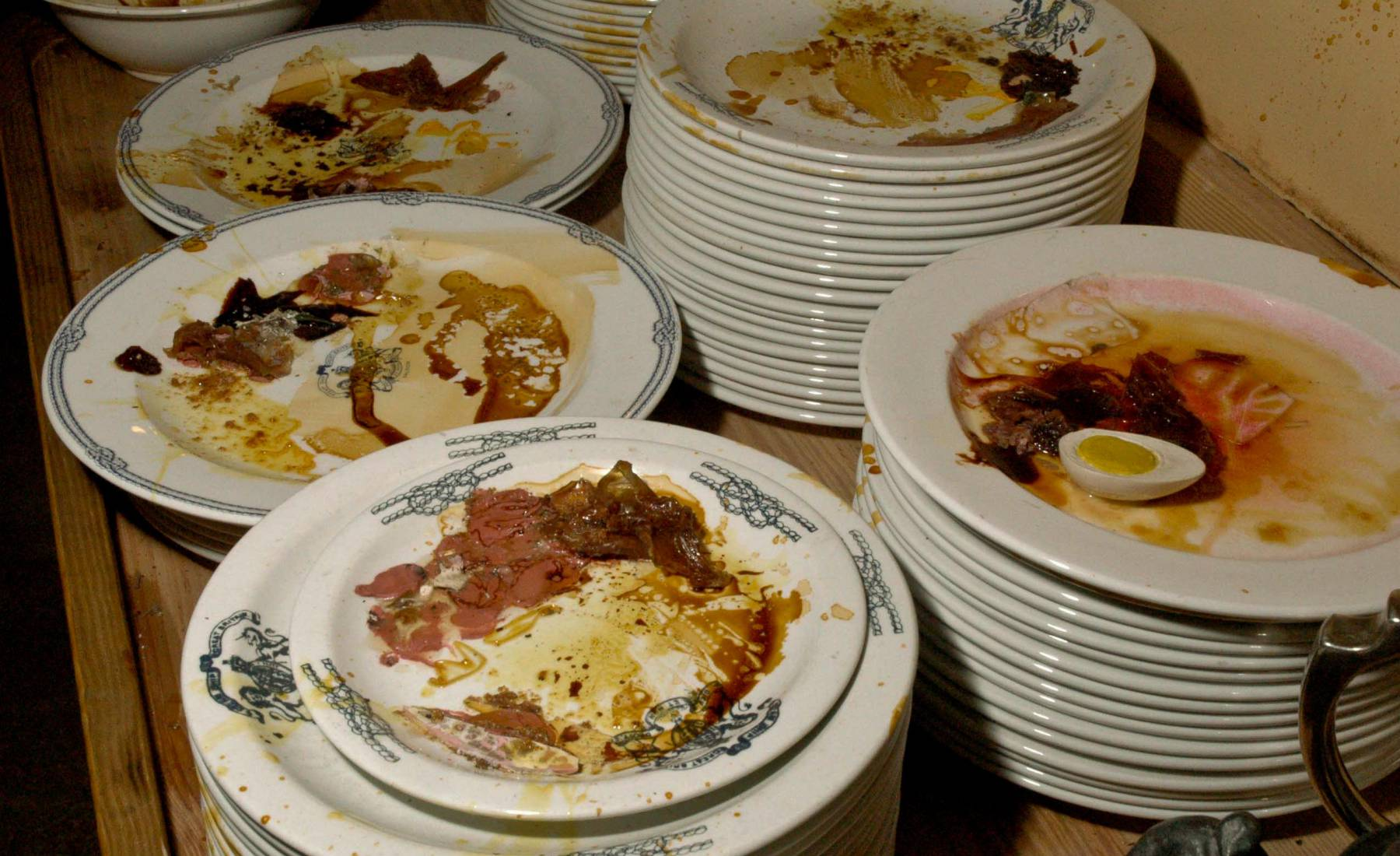 left overs, dirty plates, galley kitchen, s.s. Great Britain, scraps, meat eggs, sauce, china, breakfast