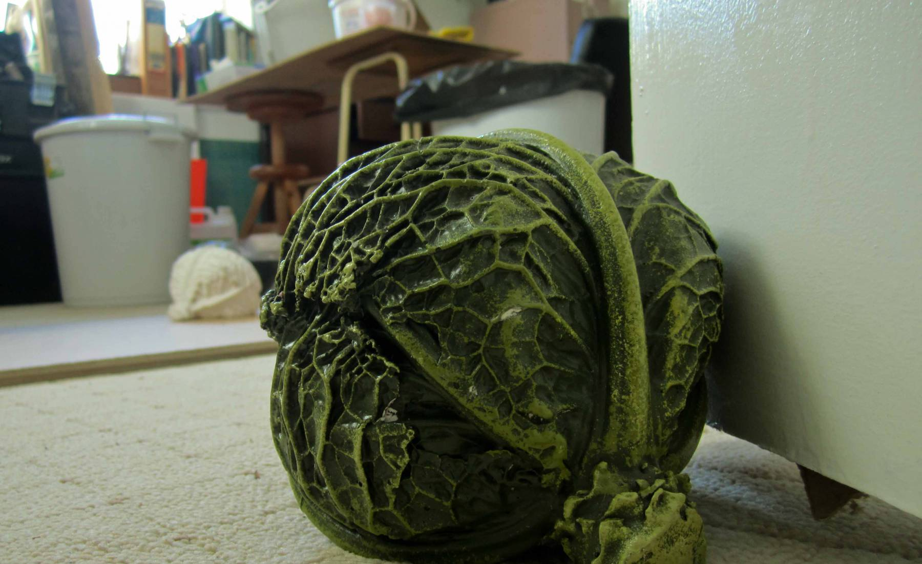 resin cabbage, vegtables, fake food, doorstop, green, realistic, cast, water based resin, vegetable shop, galley kitchen